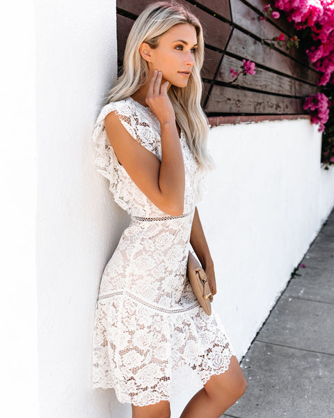 Rose De Meaux Lace Ruffle Dress - White