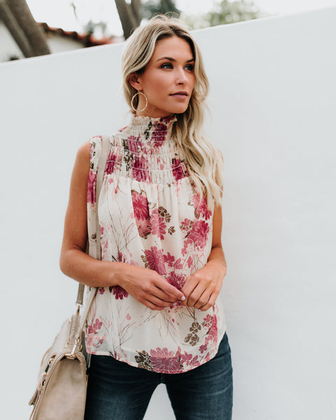Rose Essence Smocked Sleeveless Top - FINAL SALE