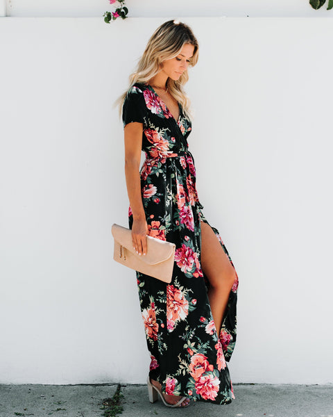 Rosemallow Bardot Wrap Maxi Dress