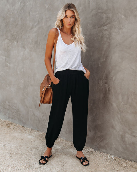 Rosemary Cotton + Linen Pocketed Joggers - Black