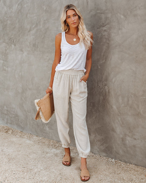 Rosemary Cotton + Linen Pocketed Joggers - Oatmeal