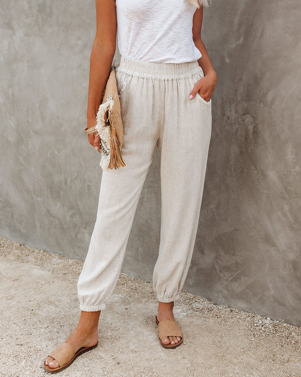 Rosemary Cotton + Linen Pocketed Joggers - Oatmeal - FINAL SALE
