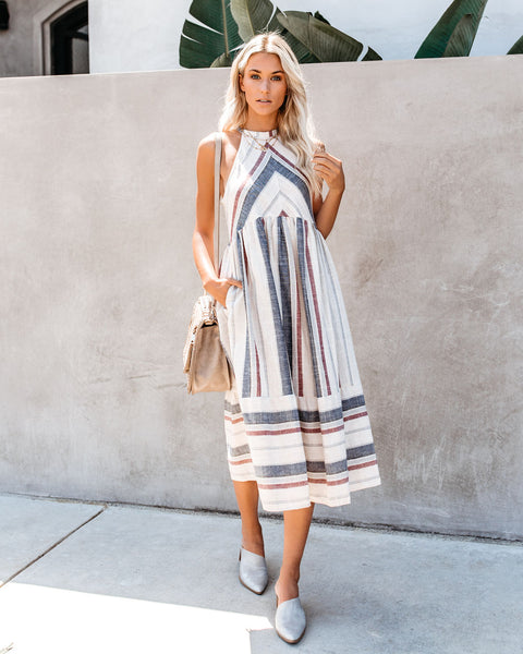 Rosemary Striped Pocketed Cotton Dress