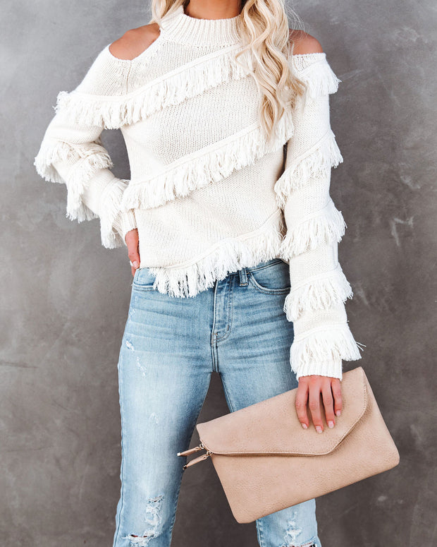 Roundabout Cold Shoulder Fringe Knit Sweater - Ivory