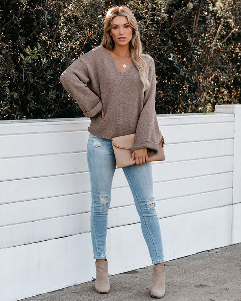Round Of Applause V-Neck Sweater - Stone - FINAL SALE