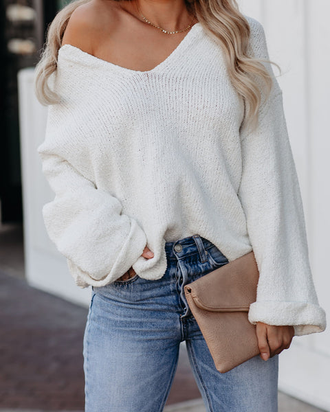 Round Of Applause V-Neck Sweater - Cream - FINAL SALE