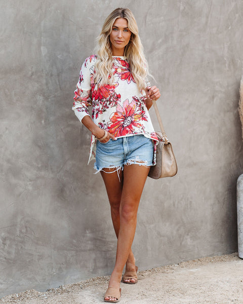 Rover Floral High Low Knit Top
