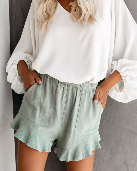 Rowan Linen + Cotton Pocketed Flutter Shorts - Sage