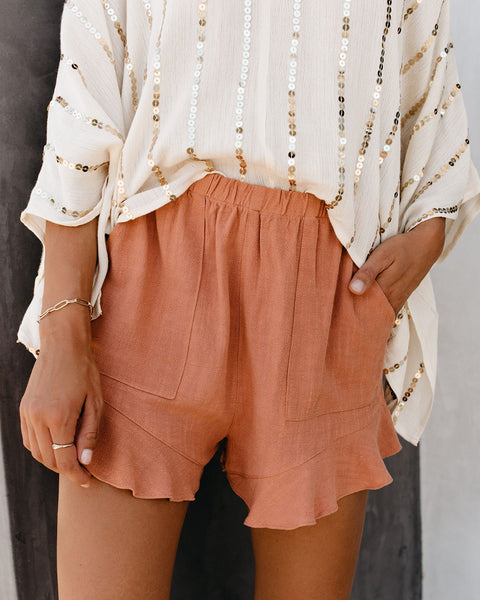 Rowan Linen + Cotton Pocketed Flutter Shorts - Salmon