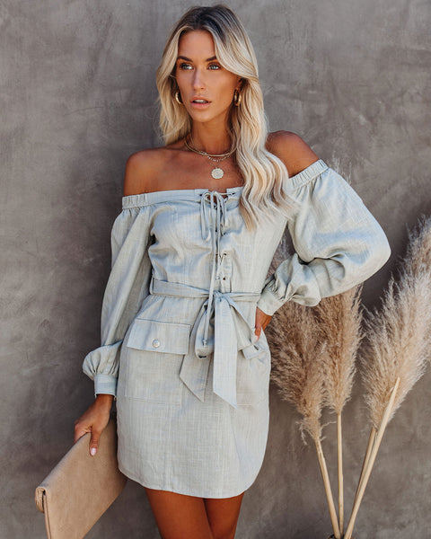 Rox Pocketed Off The Shoulder Lace Up Dress