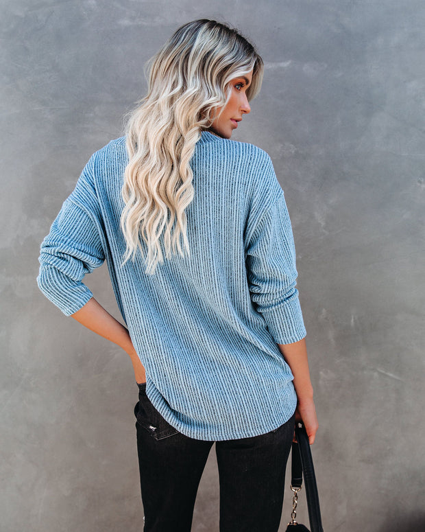 Roza V-Neck Ribbed Knit Top - Blue