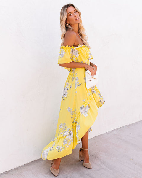 RSVP Pocketed Off The Shoulder High Low Maxi Dress - Yellow
