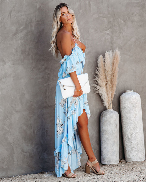 RSVP Pocketed Off The Shoulder High Low Maxi Dress - Blue