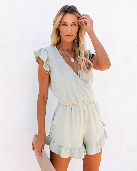 Rucker Linen Blend Pocketed Ruffle Romper