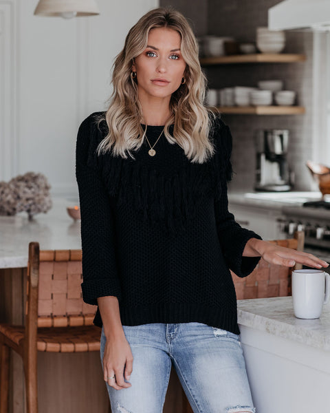 Rudeneja Cotton Blend Fringe Knit Sweater - Black  - FINAL SALE