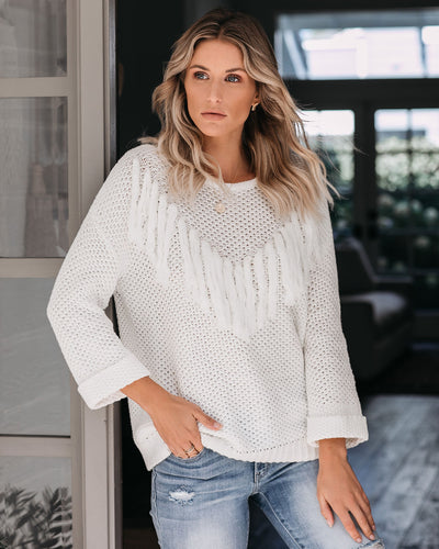 Rudeneja Cotton Blend Fringe Knit Sweater - Off White