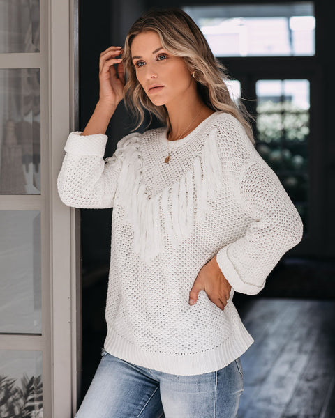 Rudeneja Cotton Blend Fringe Knit Sweater - Off White - FINAL SALE