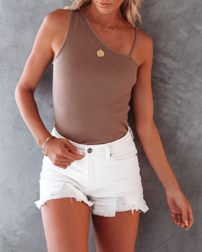 Rumor Cotton Blend Asymmetrical Tank - Mocha