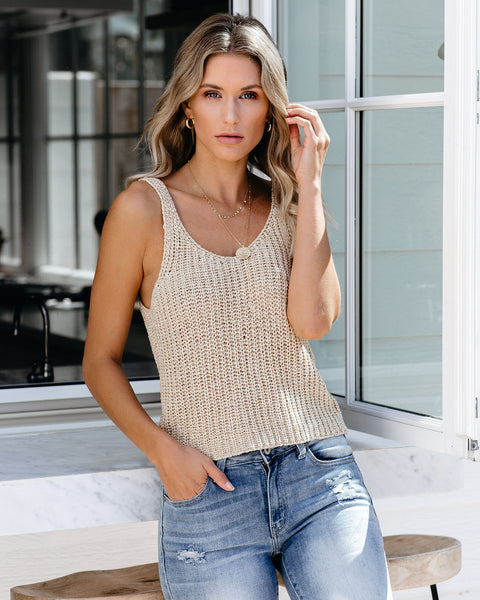 Russet Leaves Knit Tank - Natural - FINAL SALE