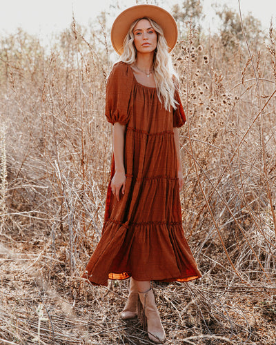 Russet Puff Sleeve Tiered Midi Dress - Rust