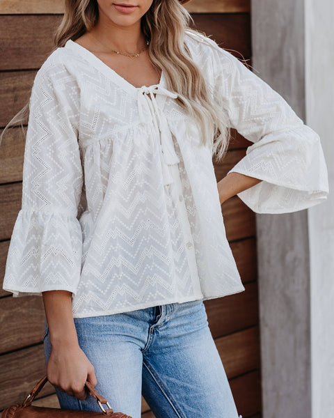 Ryanne Cotton Embroidered Babydoll Top - FINAL SALE