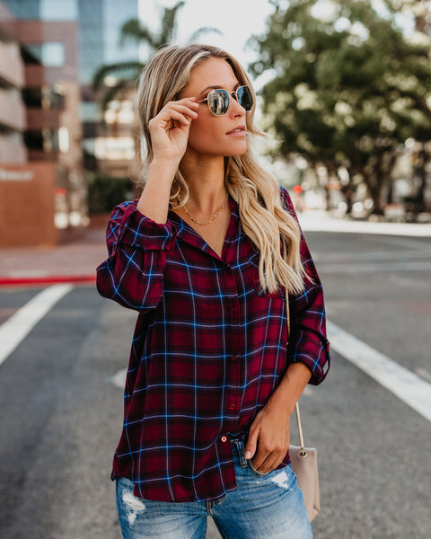 Ryan Button Down Plaid Top