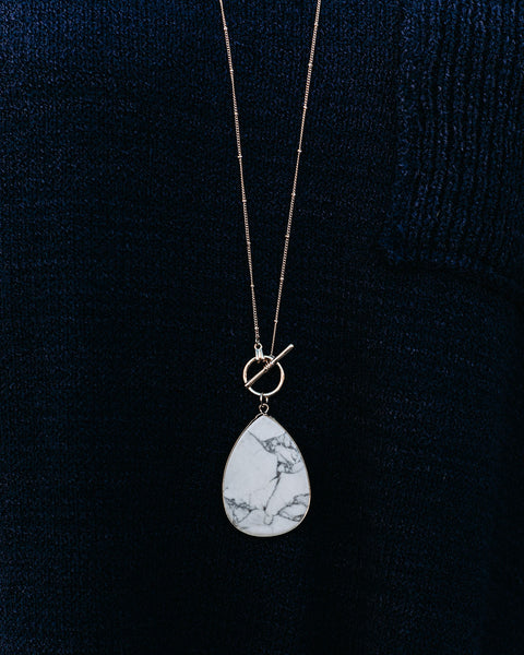 Rylan Toggle Pendant Necklace - White - FINAL SALE