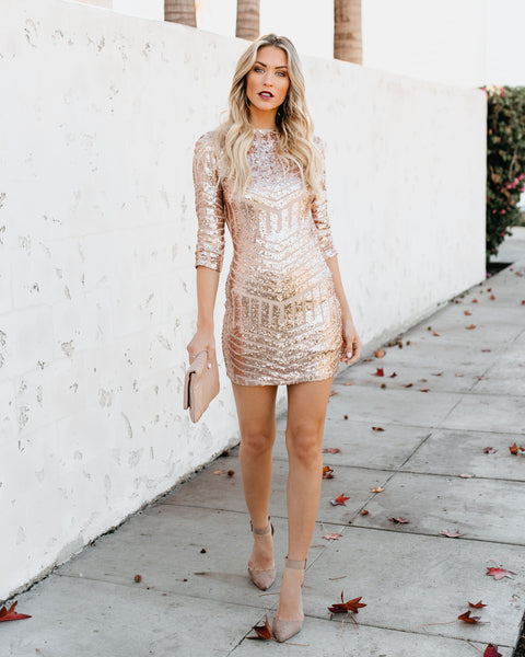 Sabine Sequin Bodycon Dress - Rose Gold