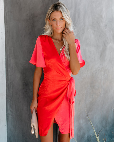 Sacred Heart Colorblock Mini Wrap Dress