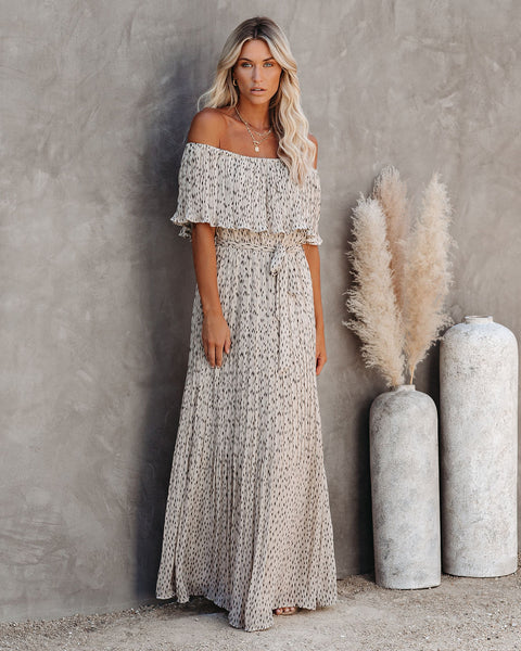 Safeguard Pleated Off The Shoulder Maxi Dress