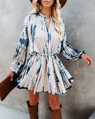 Saline Tie Dye Adjustable Balloon Sleeve Dress - Nude