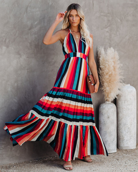 Salsa Dance Cotton Blend Tiered Halter Maxi Dress