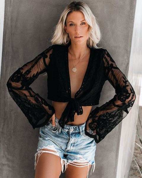 Sand Angel Long Sleeve Lace Tie Crop Top - Black