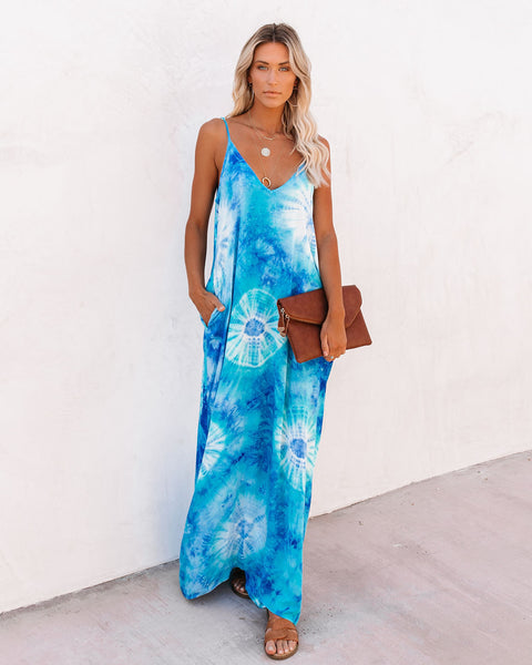 Sand Dollar Pocketed Tie Dye Olivian Maxi Dress
