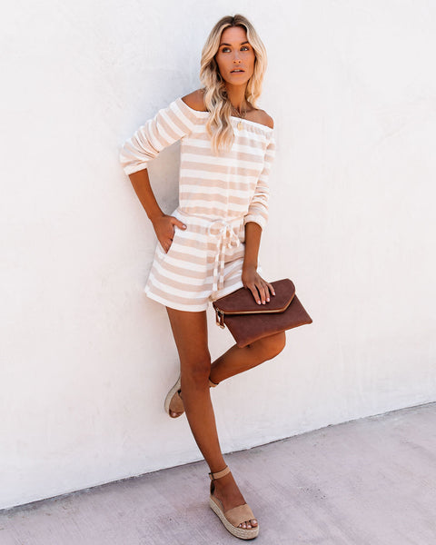 Sandy Pocketed Striped Off The Shoulder Woven Romper