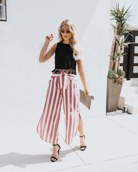 San Salvador Striped Side Slit Pants