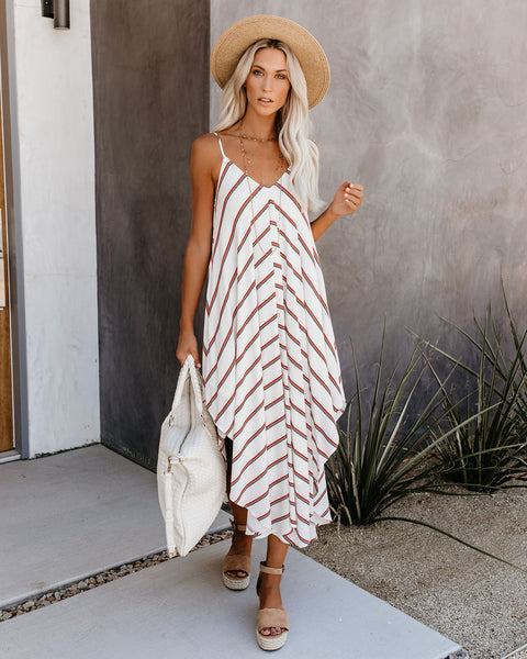 Santana Row Striped Asymmetrical Dress