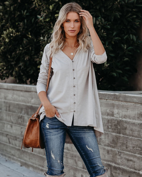 Santiago Cotton Button Down Top - Taupe - FINAL SALE