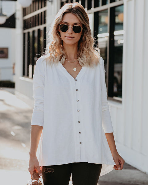 Santiago Cotton Button Down Top - White - FINAL SALE