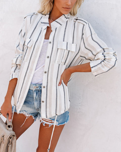 Sarah Cotton + Linen Pocketed Striped Jacket