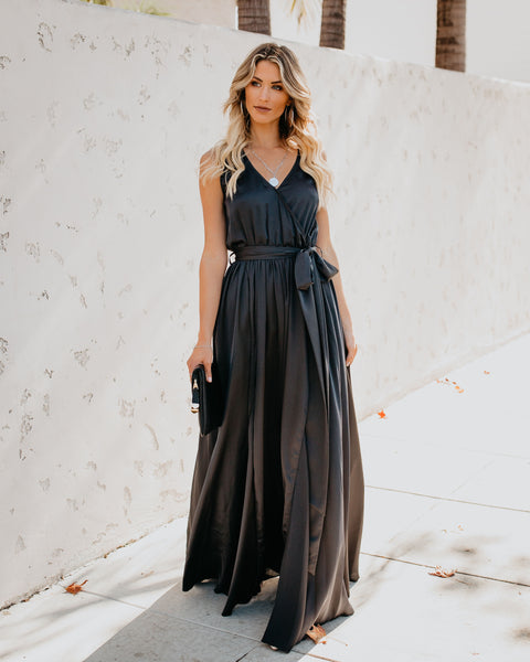Satin Sleeveless Diana Maxi Dress - Charcoal - FINAL SALE