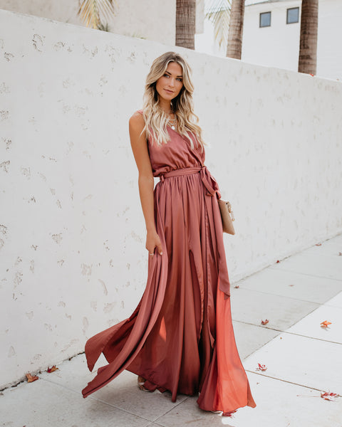 Satin Sleeveless Diana Maxi Dress -  Clay