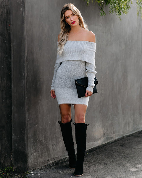 Savannah Off The Shoulder Sweater Dress - Heather Grey - FINAL SALE