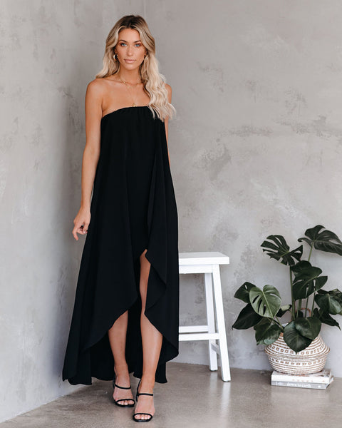 Save The Date Strapless High Low Maxi Dress - Black - FINAL SALE