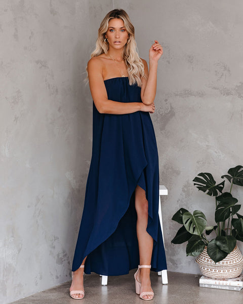Save The Date Strapless High Low Maxi Dress - Navy