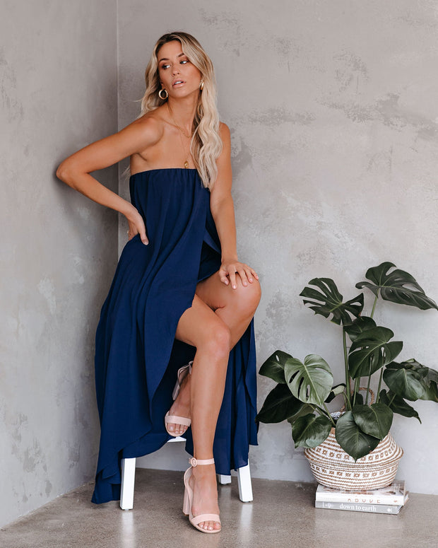 Save The Date Strapless High Low Maxi Dress - Navy  - FINAL SALE