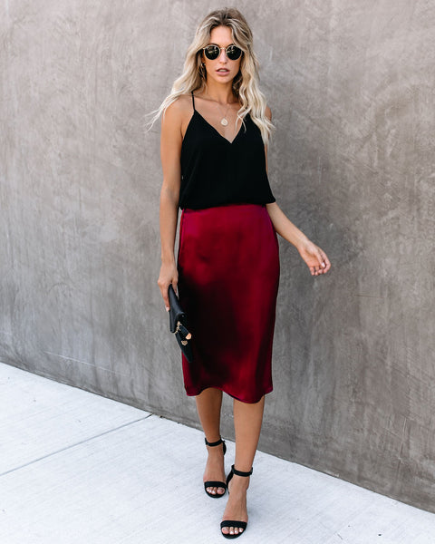 Savoir Faire Satin Midi Skirt - Wine - FINAL SALE
