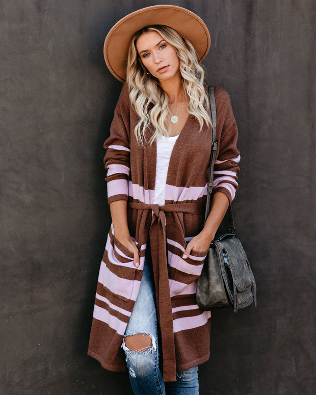 Savor The Moment Striped Pocketed Tie Cardigan  - FINAL SALE