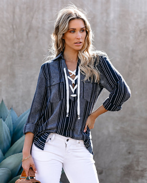 Sawyer Cotton Lace Up Top