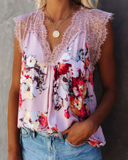 Sawyer Floral Lace Tank - Rose